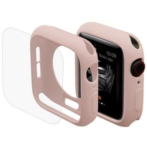 ENKAY Hat-Prince 2 in 1 TPU Semi-clad Protective Shell + 3D Full Screen PET Curved Heat Bending HD Screen Protector for Apple Watch Series 4 44mm(Pink)