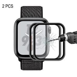 2 PC's ENKAY Hat-Prins 0.2mm 9H 3D aluminiumlegering Frame volledig scherm glas Film voor Apple Watch serie 4 44mm(Black)