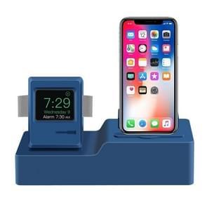 Klassiek design 3 in 1 Oplaaddock standaard houder station voor Airpods & iPhone & Apple Watch (donkerblauw)