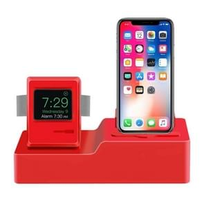 Classic Design 3 in 1 Charging Dock Stand Holder Station for Airpods & iPhone & Apple Watch (Red)