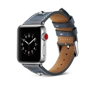Genuine Leather Rivet Watch Strap for Apple Watch Series 4 & 3 & 2 & 1 42mm & 44mm (Blue)