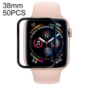 50 PCS For Apple Watch 38mm Soft PET Film Full Cover Screen Protector(Black)
