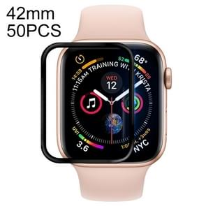 50 PCS For Apple Watch 42mm Soft PET Film Full Cover Screen Protector(Black)