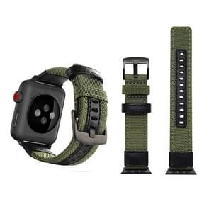 Jeep stijl Nylon pols horloge Band met roestvrij stalen gesp voor Apple Watch serie 3 & 2 & 1 42mm (leger-groen)