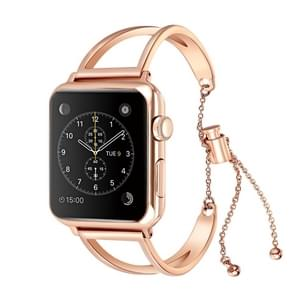 Letter V Shape Bracelet Metal Wrist Watch Band with Stainless Steel Buckle for Apple Watch Series 3 & 2 & 1 38mm (Rose Gold)