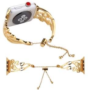 HOU van gevormde armband roestvrij stalen horlogeband voor Apple Watch serie 3 & 2 & 1 38mm (goud)