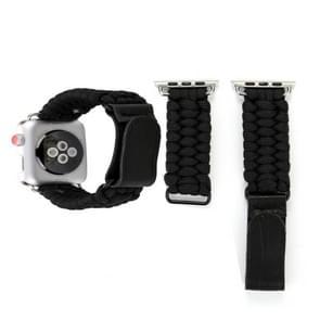 Magische plakken lederen paraplu touw Nylon pols horloge Band met en roestvrij stalen gesp voor Apple Watch serie 3 & 2 & 1 38mm(Black)