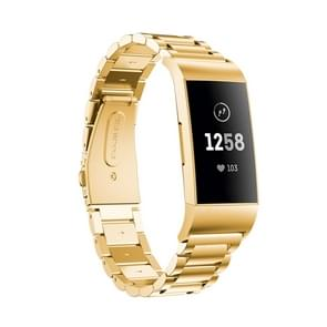 Three Beads Slingshot Buckle Solid Stainless Steel Wrist Strap Watch Band for Fitbit Charge 3 (Gold)