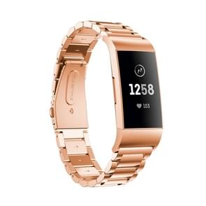 Three Beads Slingshot Buckle Solid Stainless Steel Wrist Strap Watch Band for Fitbit Charge 3 (Rose Gold)