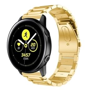Three Beads Slingshot Buckle Solid Stainless Steel Wrist Strap Watch Band for Galaxy Watch Active 20mm (Gold)