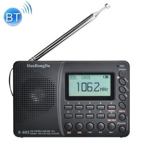 K-603 Portable FM / AM / SW Full Band Stereo Radio  Support BT & TF Card (Zwart)