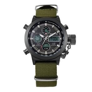 6022 North Men Fashion Nylon Belt Calendar Display Sport Smart Digital Quartz Watch(Black)