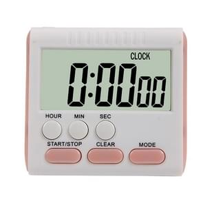 Kitchen Timer 24 Hours Digital Alarm Clock LCD Screen Magnetic Backing for Cooking Baking(Pink)