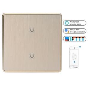 2 knoppen WiFi intelligent touch Switch Smart Wall switch  EU-stekker (goud)