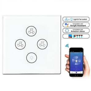 Multi-function Wifi Fan Light Smart Touch Panel Switch, EU Plug (White)