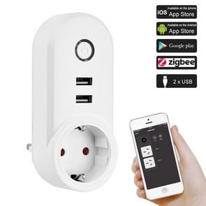 ZigBee 3 0 Dual USB Smart socket switch  EU stekker (wit)