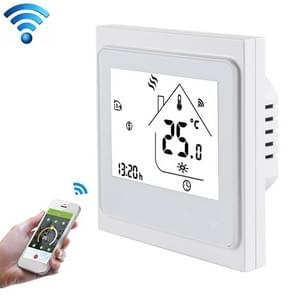 BHT-002GBLW 16A Load Electronic Heating Type LCD Digital Heating Room Thermostat with Sensor & Time Display, WiFi Control(White)