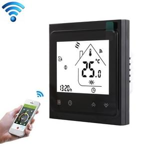 BHT-002GALW 3A Load Water Heating Type LCD Digital Heating Room Thermostat with Time Display, WiFi Control(Black)