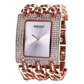 WeiQin Women Fashion Rhinestone Inlaid Square Case Alloy Bracelet Band Analog Quartz Wrist Watch(Rose Gold + Silver)