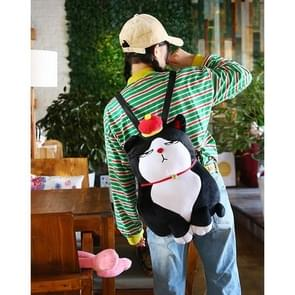 Warm Hand Emperor Cat Lil 18 Short Plush Shoulders Bag School Bag Travel Backpack Bag (Black)