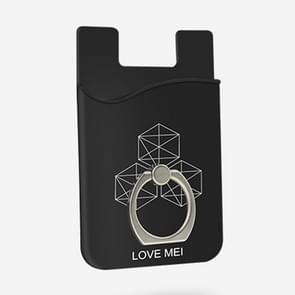LOVE MEI Leather Pocket Card Mini Mobile Phone Back Stickers Card Package with Ring Holder (Black)