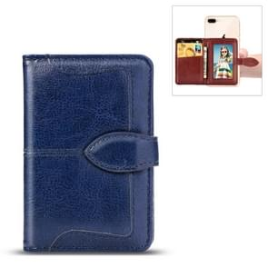 Mobile Phone Universal With Retro Pure Color Card Slot & Wallet & Holder & Photo Frame (Blue)