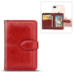 Mobile Phone Universal With Retro Pure Color Card Slot & Wallet & Holder & Photo Frame (Red)