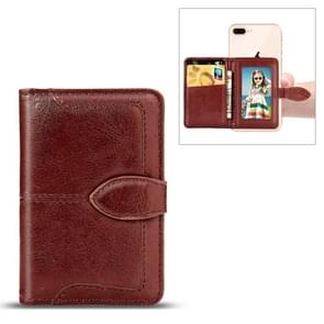 Mobile Phone Universal With Retro Pure Color Card Slot & Wallet & Holder & Photo Frame (Brown)