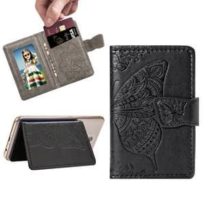 Mobile Phone Universal Embossed Butterfly Card Slot & Wallet & Holder & Photo Frame (Black)