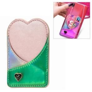 Mobile Phone Universal Laser Color Changing Loving Heart Card Slot & Wallet & Holder & Photo Frame (Green)