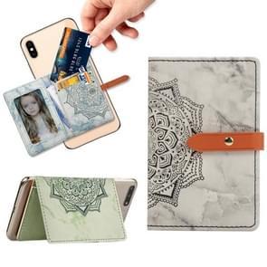Mobile Phone Universal Thin Buckled Mandala Leather Card Slot & Wallet & Holder & Photo Frame(Black)