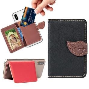Mobile Phone Universal Leaf multi-function Card Slot & Wallet & Holder & Photo Frame (Black)