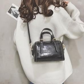 Fashion Shiny PU Leather Small Square Handbag Ladies Shoulder Messenger Bag(Black)