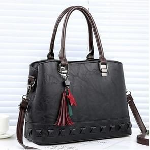 Unieke bodem Leisure Fashion PU Slant schoudertas Handbag(Black) breien
