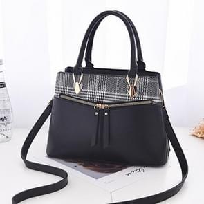 Binddraad geruite Leisure Fashion PU Slant schoudertas Handbag(Black)