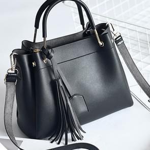 Vrijetijds mode PU Slant schoudertas handtas kwast Bag(Black)