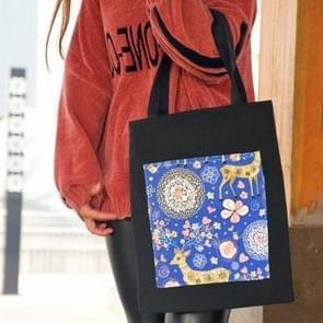 Sika Deer Flower Pattern Tote Bag (Black)