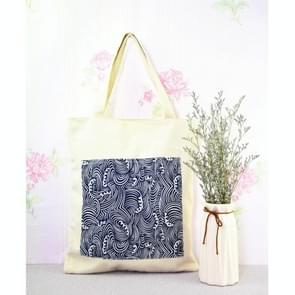 Beautiful Sea Wave Pattern Canvas Tote Bag Hand Bag (Dark Blue Wave)(White)