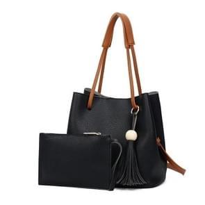 New Model Fashion Lychee Grain Tote Bag Handbag Bucket Bag Shoulder Bag Two-Piece Set(Black)