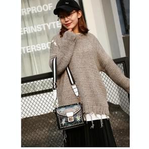 New Model Fashion Embroidery Rivet Women Tote bag Handbag Shoulder Bag(Black)