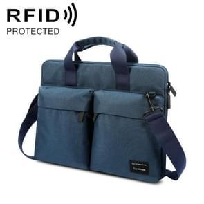 Cartinoe 15 6 inch ANTI-RFID Fashion Comfortable Breathable Polyester Laptop Tas met handvat & schouderband (donkerblauw)