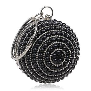 Ball Shape Women Fashion Banquet Party Pearl Handbag(Black)