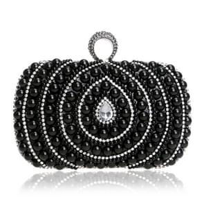 Women Fashion Banquet Party Pearl Handbag (Black)