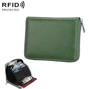 Antimagnetic RFID Multi-functional Genuine Leather Card Package (Army Green)