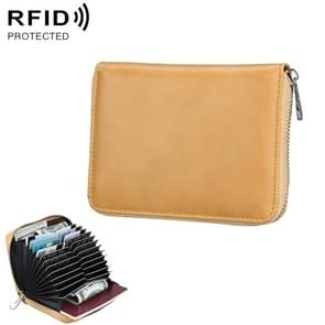 Antimagnetic RFID Multi-functional Genuine Leather Card Package (Yellow)