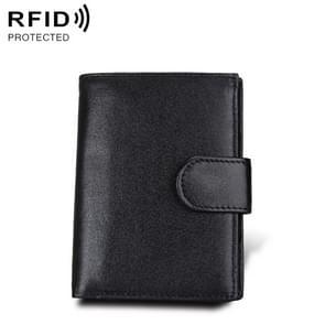 Antimagnet RFID Genuine Leather Wallet / Passport Package / Cowhide Card Slot for man (Black)