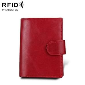 Antimagnet RFID Genuine Leather Wallet / Passport Package / Cowhide Card Slot for man (Red)