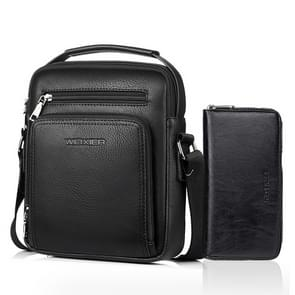 WEIXIER 18062 Multifunctional Men Business Handbag Crossbody Bag Single Shoulder Bag with Handbag (Black)