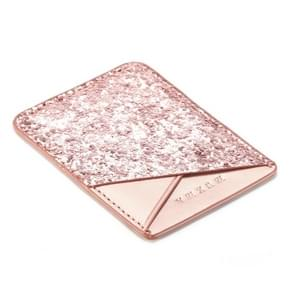 MUXMA  Sequin Leather Pocket Card Mini Mobile Phone Case 3M Plastic Credit Card Mobile Phone Back Stickers Card Package Card Sets (Pink)