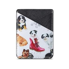 MUXMA  Puppy  Leather Pocket Card Mini Mobile Phone Case 3M Plastic Credit Card Mobile Phone Back Stickers Card Sets (Black)